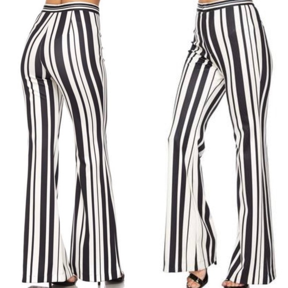 wholesale price super cheap big selection High waist striped flare leg pants Boutique